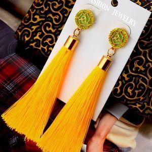Womens Tassel Earrings in Yellow